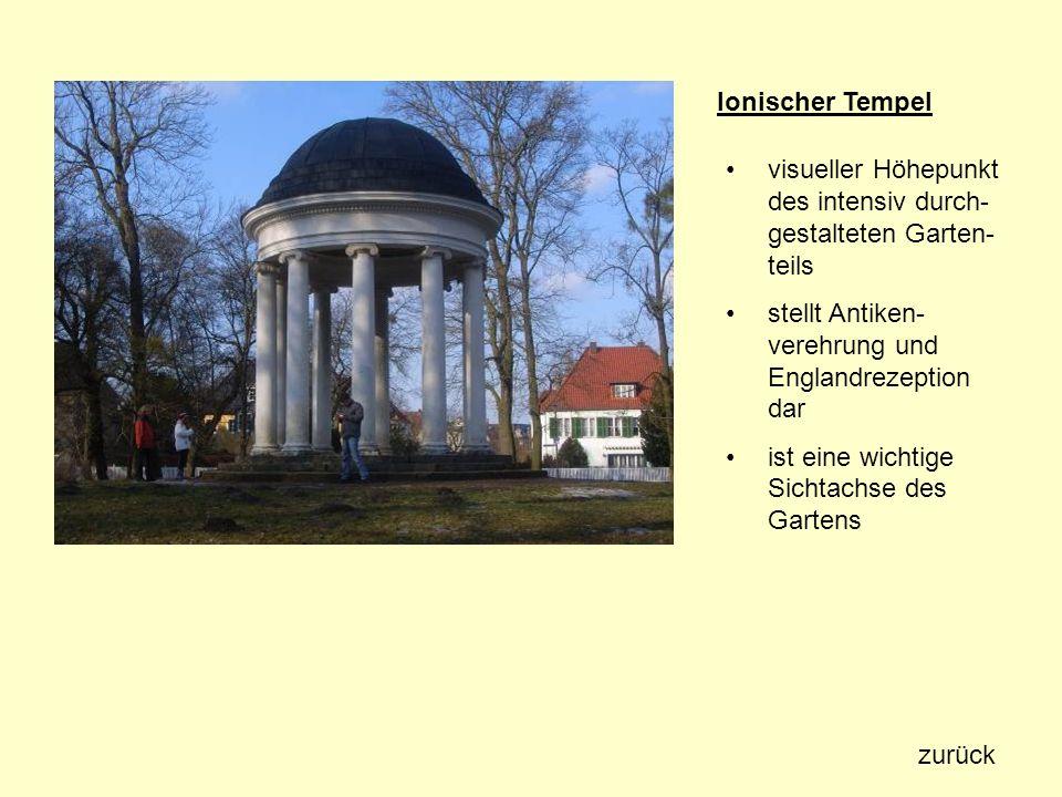 Ionischer Tempel visueller Höhepunkt des intensiv durch-gestalteten Garten-teils. stellt Antiken-verehrung und Englandrezeption dar.