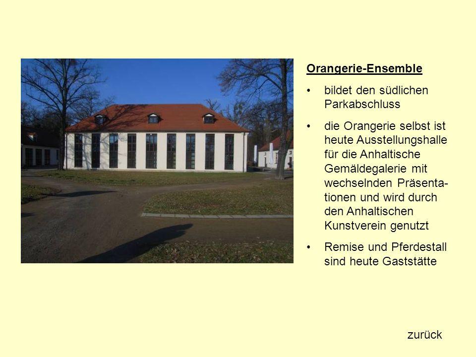 Orangerie-Ensemble bildet den südlichen Parkabschluss.