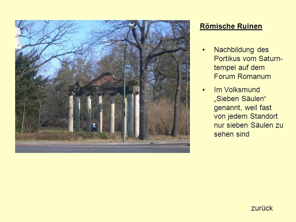 Römische Ruinen Nachbildung des Portikus vom Saturn-tempel auf dem Forum Romanum.