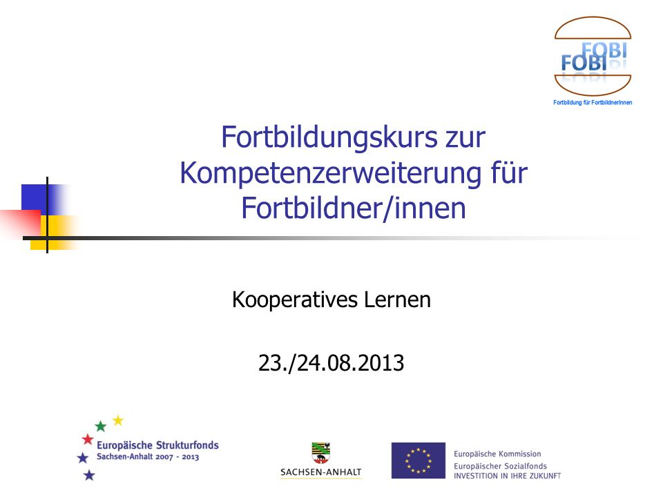 Fortbildungskurs zur Kompetenzerweiterung für Fortbildner/innen