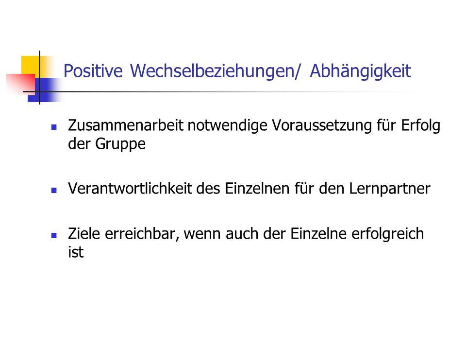 Positive Wechselbeziehungen/ Abhängigkeit
