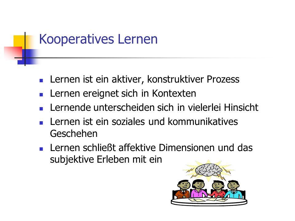 Kooperatives Lernen Lernen ist ein aktiver, konstruktiver Prozess