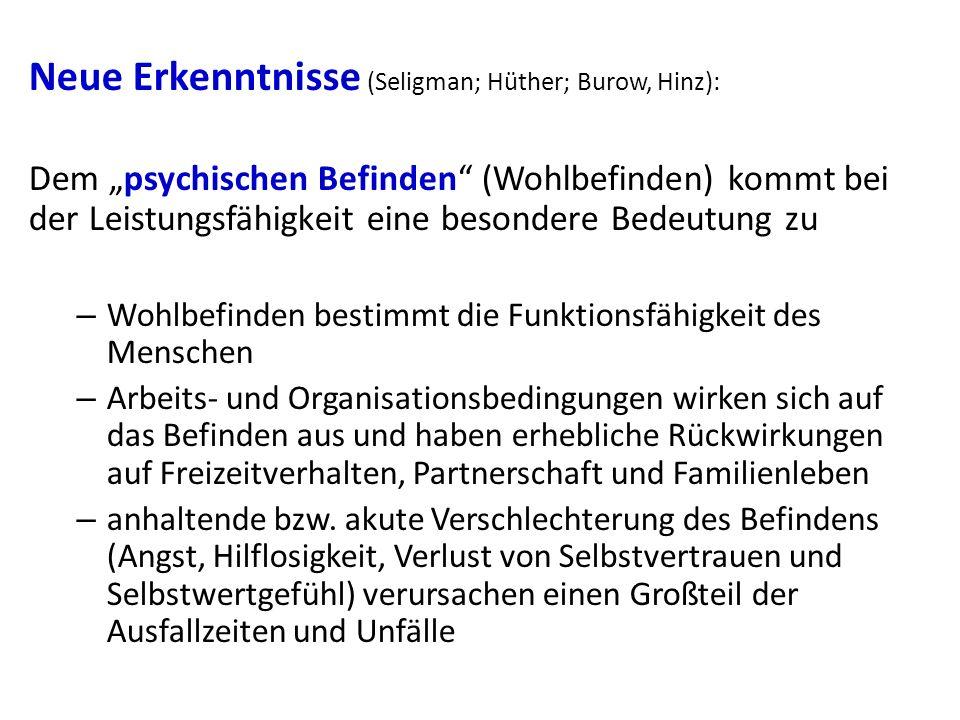 Neue Erkenntnisse (Seligman; Hüther; Burow, Hinz):