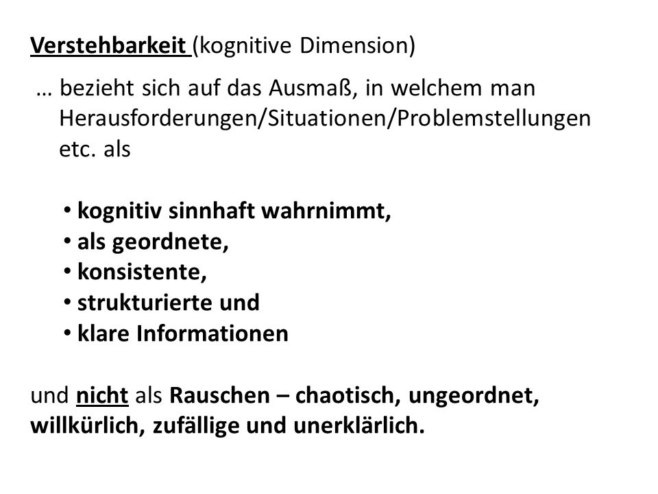 Verstehbarkeit (kognitive Dimension)