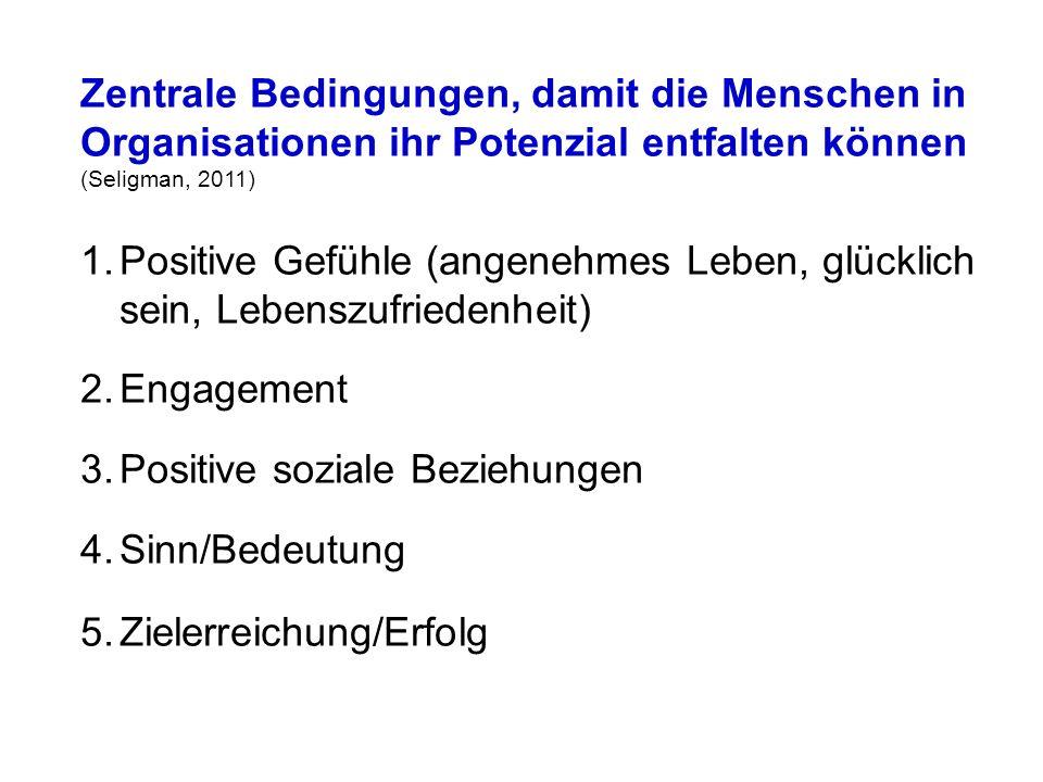 Zentrale Bedingungen, damit die Menschen in Organisationen ihr Potenzial entfalten können (Seligman, 2011)