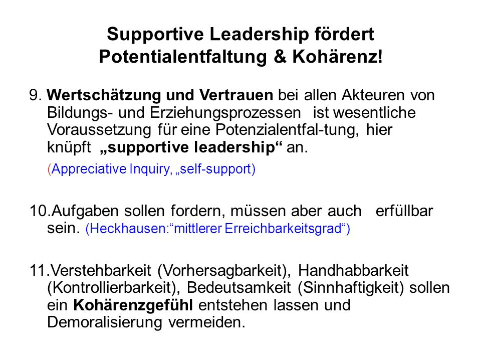 Supportive Leadership fördert Potentialentfaltung & Kohärenz!