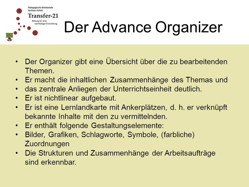 Der Advance Organizer Der Organizer gibt eine Übersicht über die zu bearbeitenden Themen. Er macht die inhaltlichen Zusammenhänge des Themas und.