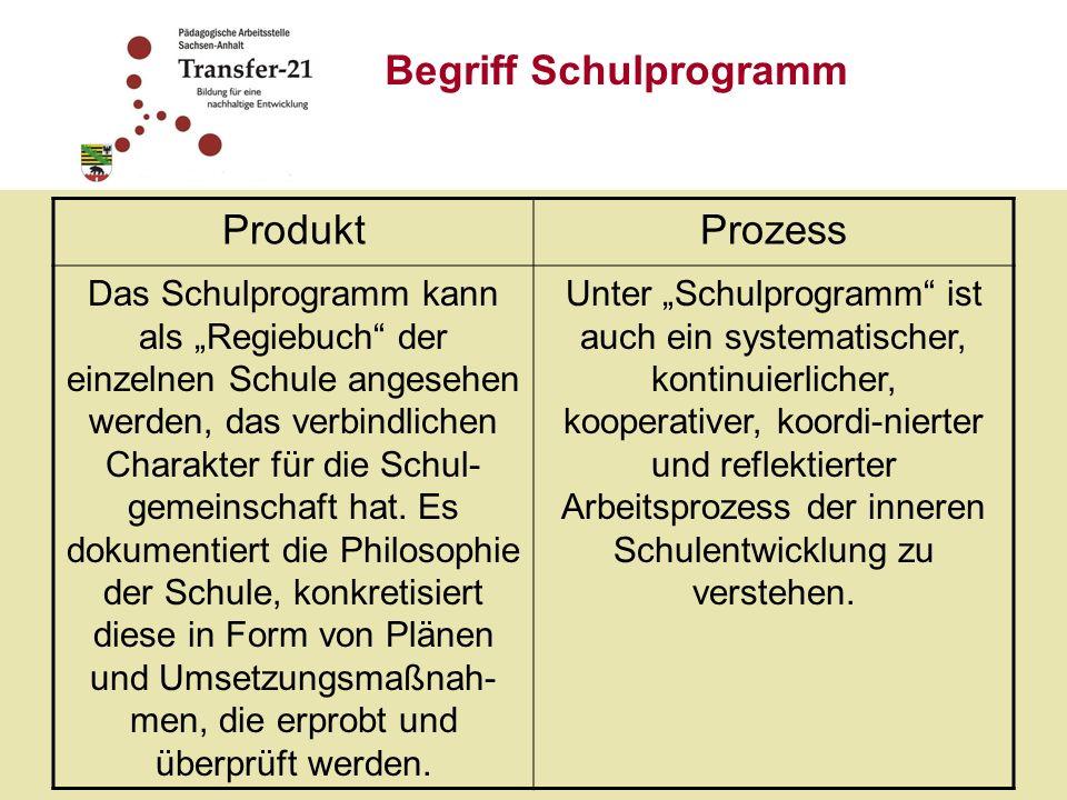 Begriff Schulprogramm Produkt Prozess