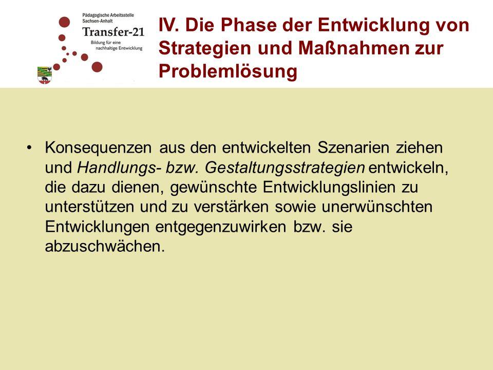 IV. Die Phase der Entwicklung von Strategien und Maßnahmen zur Problemlösung