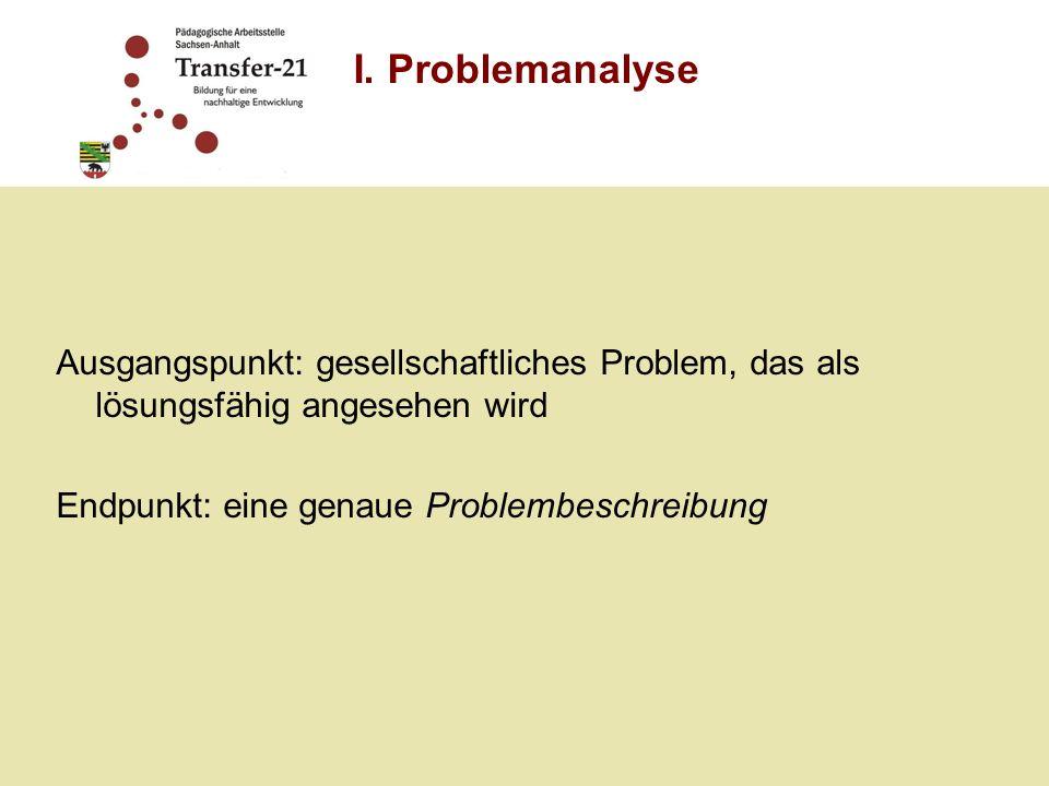 I. Problemanalyse Ausgangspunkt: gesellschaftliches Problem, das als lösungsfähig angesehen wird. Endpunkt: eine genaue Problembeschreibung.
