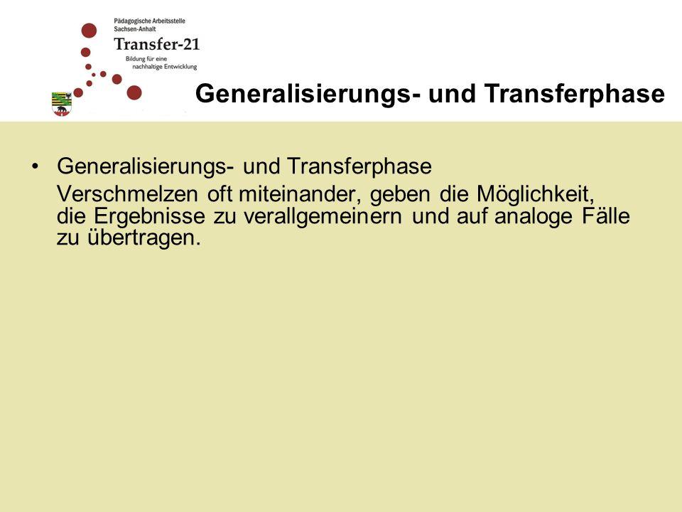 Generalisierungs- und Transferphase