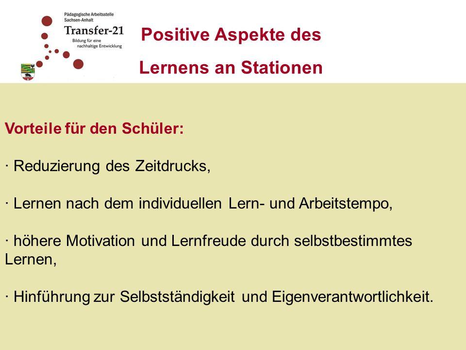 Positive Aspekte des Lernens an Stationen