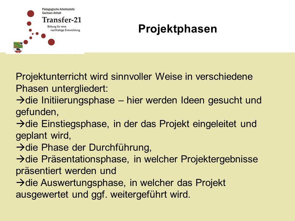 Projektphasen Projektunterricht wird sinnvoller Weise in verschiedene Phasen untergliedert: