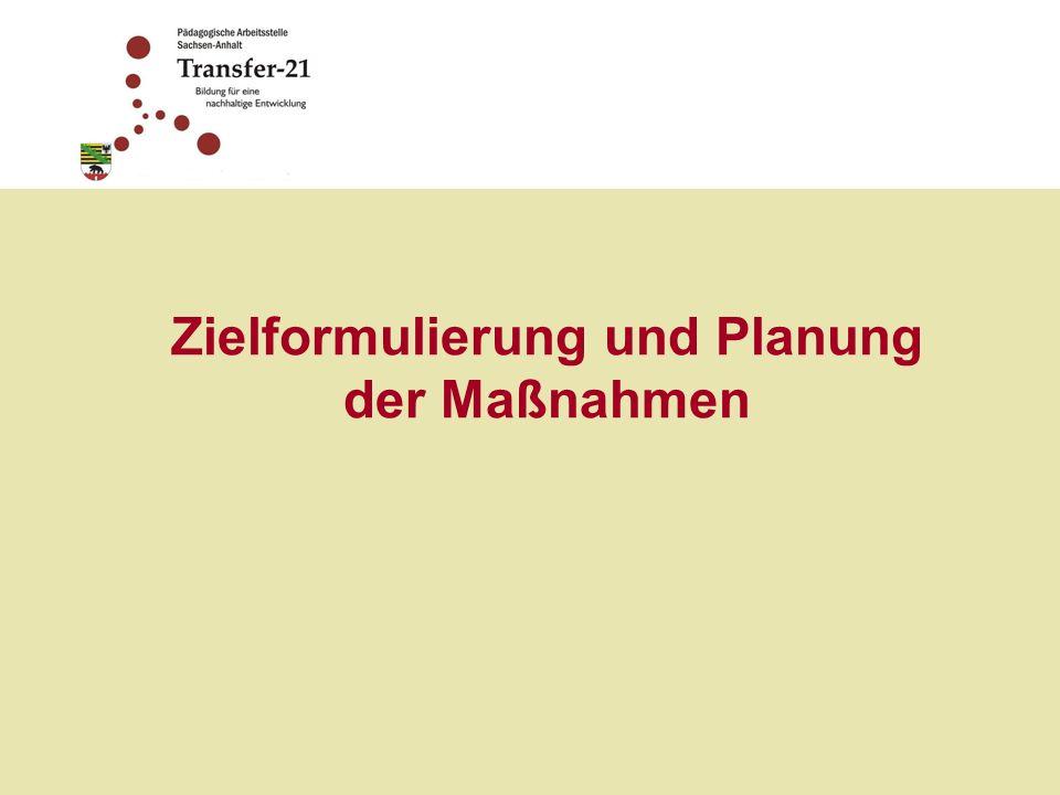 Zielformulierung und Planung der Maßnahmen