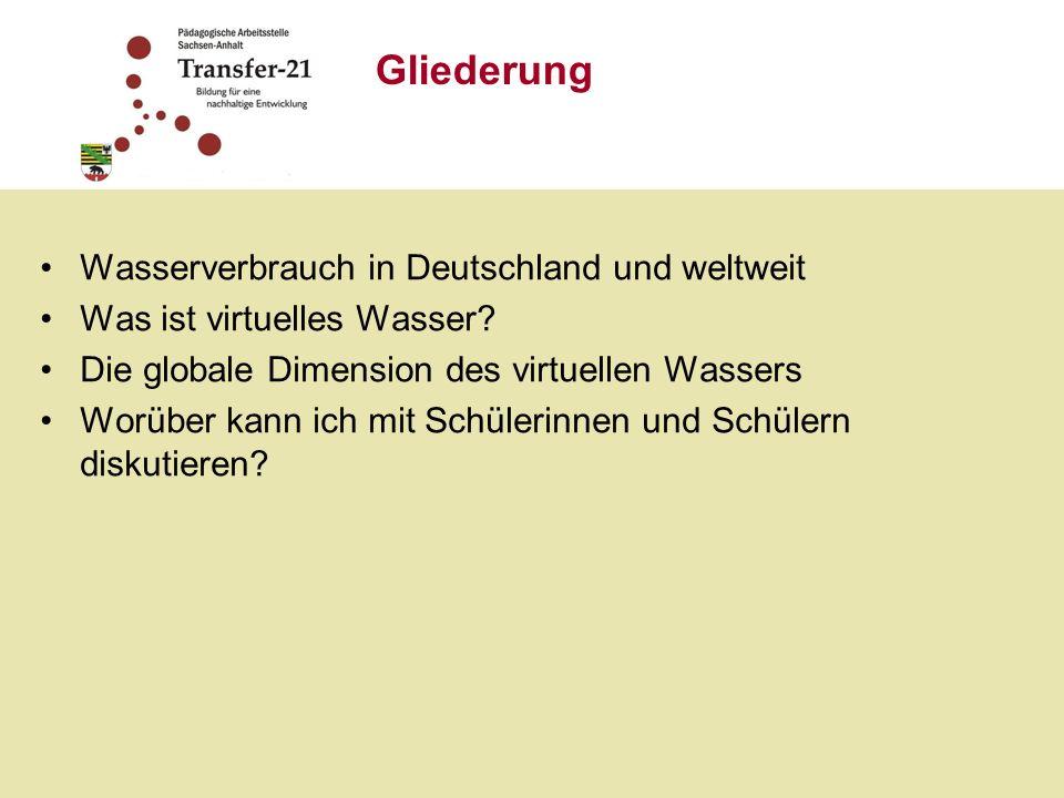 Gliederung Wasserverbrauch in Deutschland und weltweit