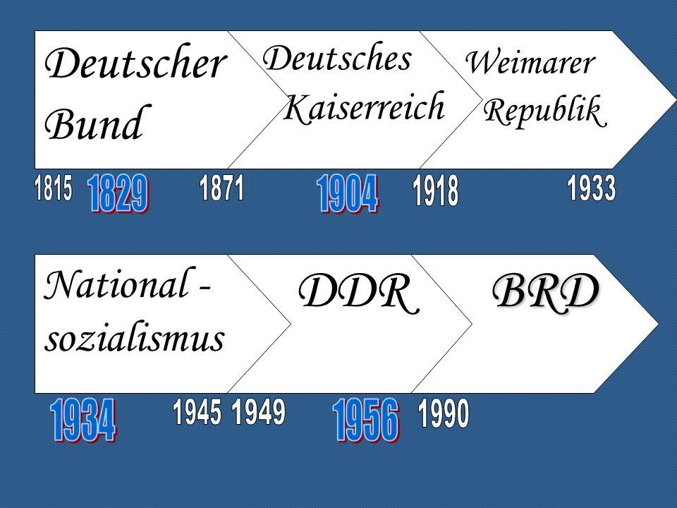 DDR Deutscher Bund Weimarer National -sozialismus Deutsches
