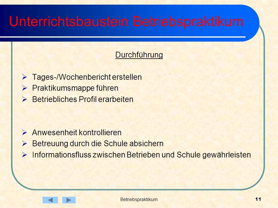 Unterrichtsbaustein Betriebspraktikum