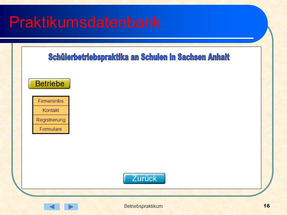 Schülerbetriebspraktika an Schulen in Sachsen Anhalt