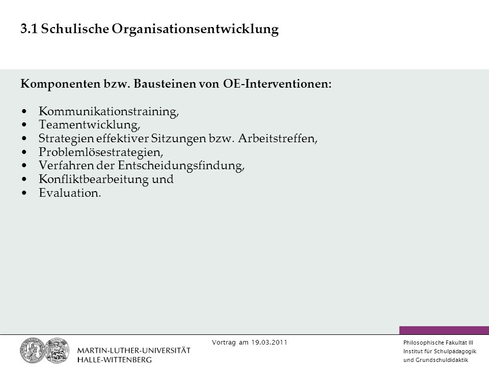3.1 Schulische Organisationsentwicklung