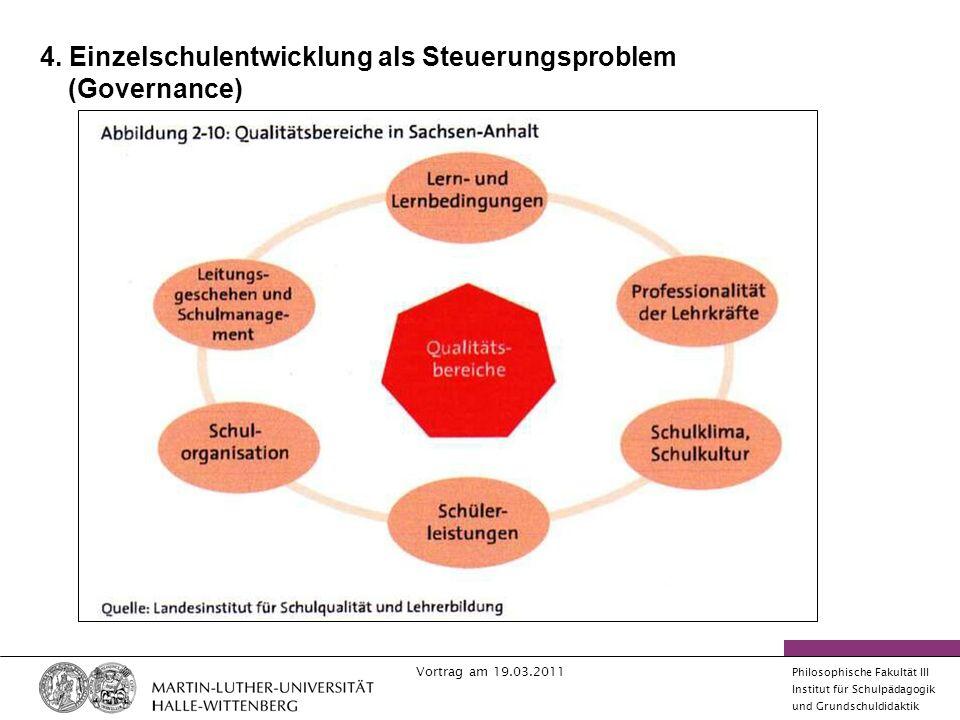 4. Einzelschulentwicklung als Steuerungsproblem (Governance)