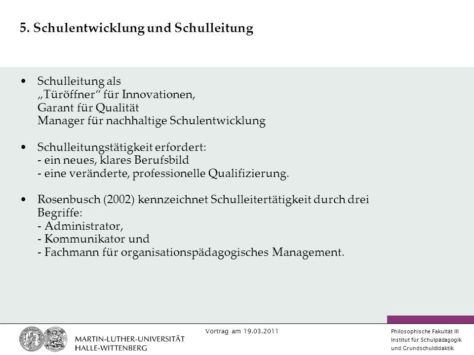 5. Schulentwicklung und Schulleitung