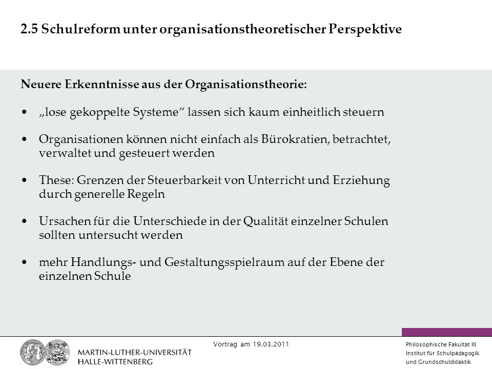 2.5 Schulreform unter organisationstheoretischer Perspektive