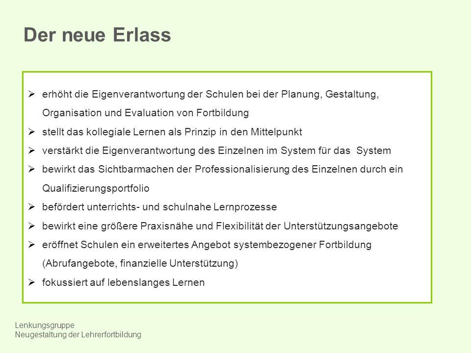 Der neue Erlass erhöht die Eigenverantwortung der Schulen bei der Planung, Gestaltung, Organisation und Evaluation von Fortbildung.