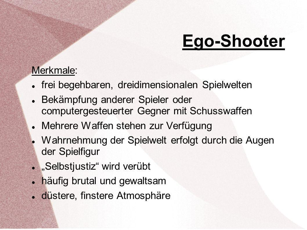 Ego-Shooter Merkmale: frei begehbaren, dreidimensionalen Spielwelten