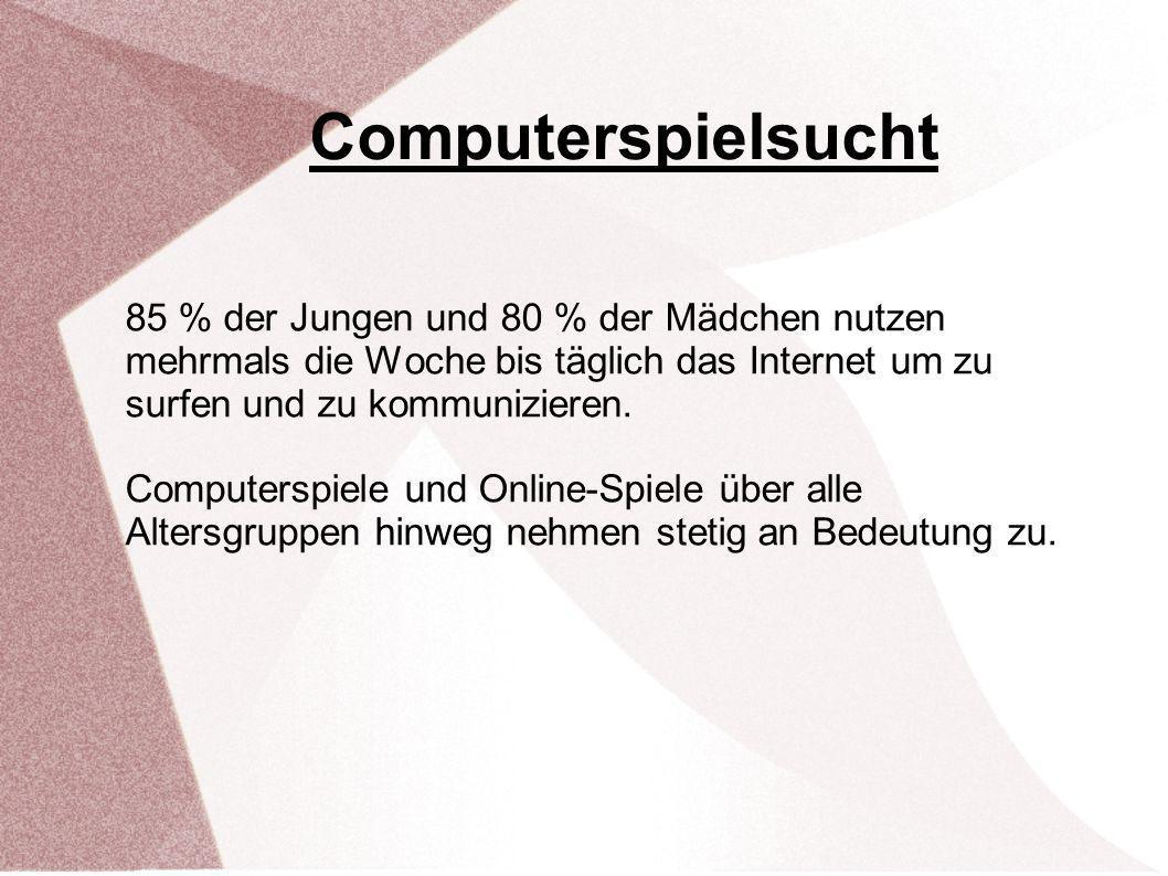 Computerspielsucht 85 % der Jungen und 80 % der Mädchen nutzen mehrmals die Woche bis täglich das Internet um zu surfen und zu kommunizieren.