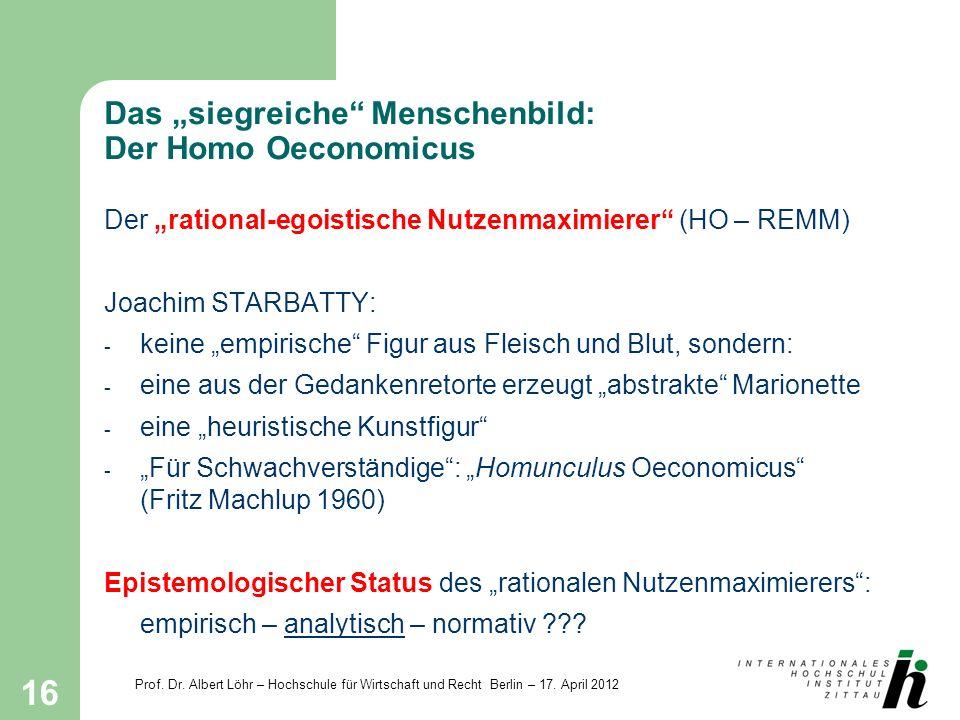 """Das """"siegreiche Menschenbild: Der Homo Oeconomicus"""