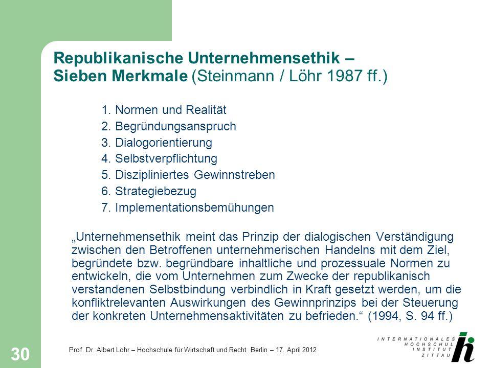 Republikanische Unternehmensethik – Sieben Merkmale (Steinmann / Löhr 1987 ff.)