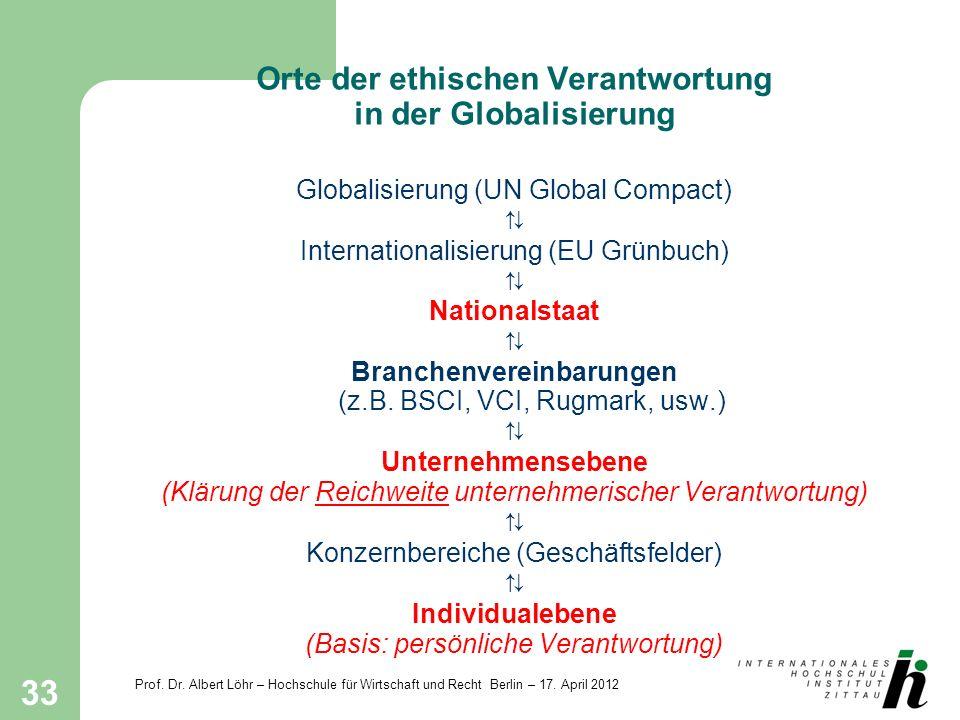Orte der ethischen Verantwortung in der Globalisierung