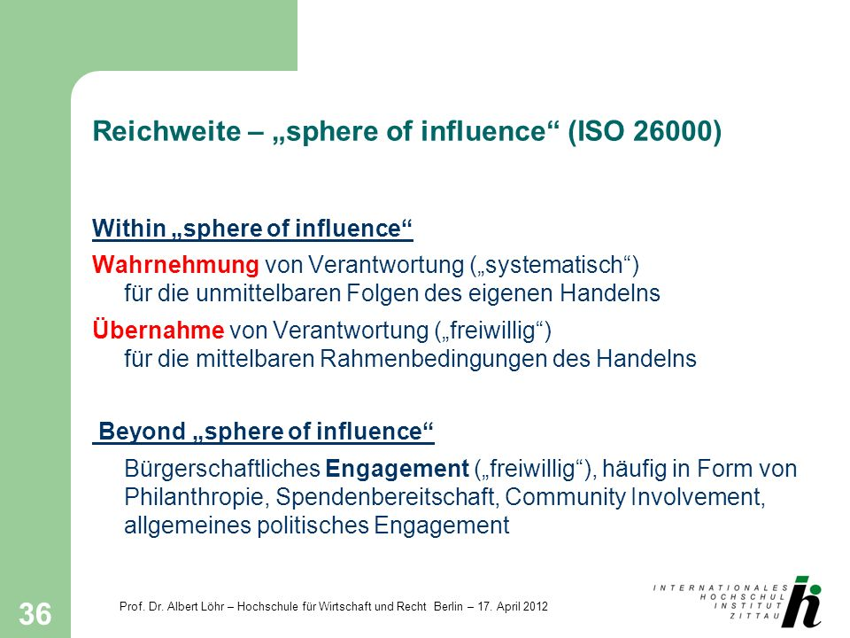 "Reichweite – ""sphere of influence (ISO 26000)"