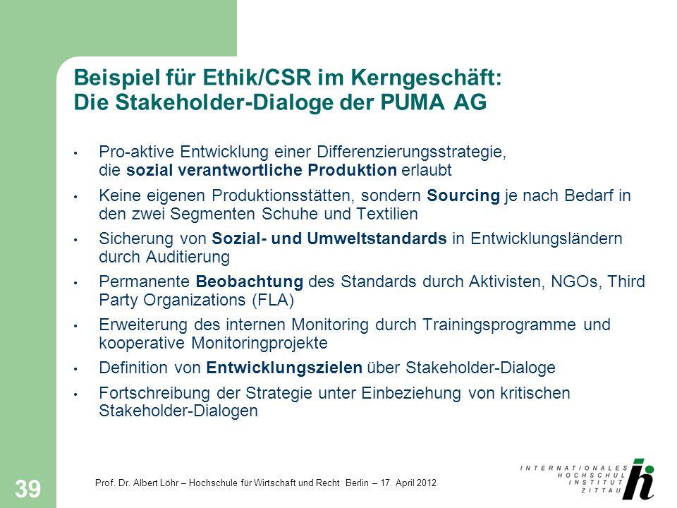 Beispiel für Ethik/CSR im Kerngeschäft: Die Stakeholder-Dialoge der PUMA AG