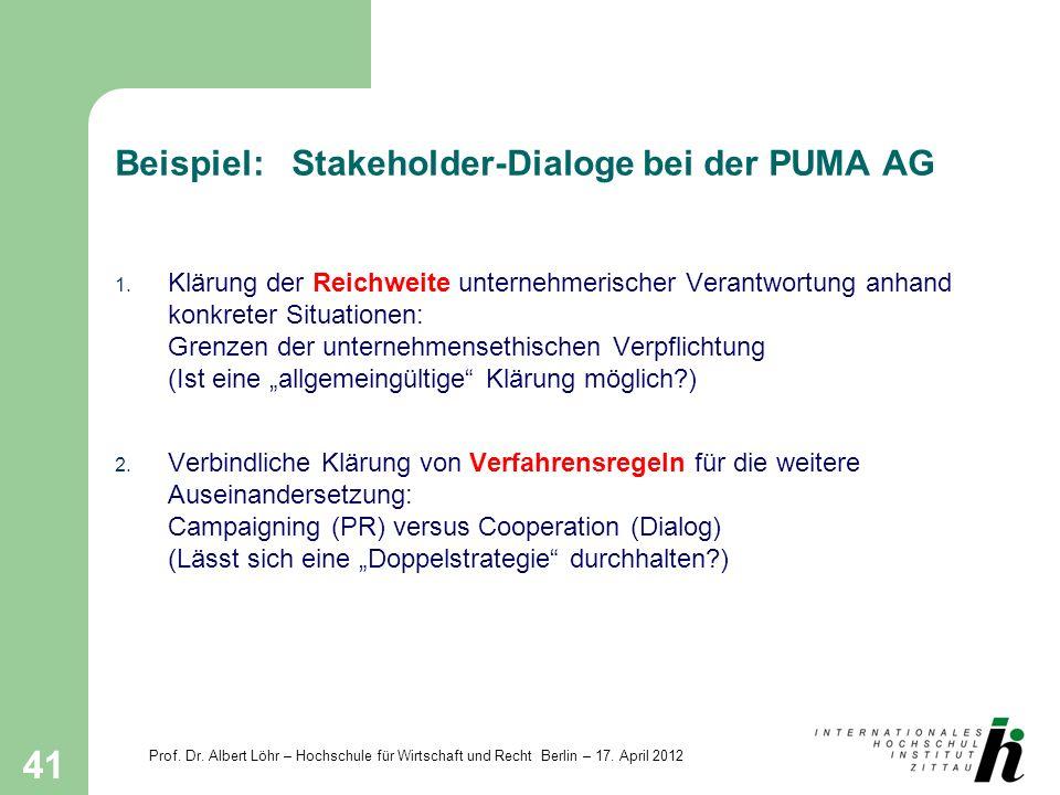 Beispiel: Stakeholder-Dialoge bei der PUMA AG