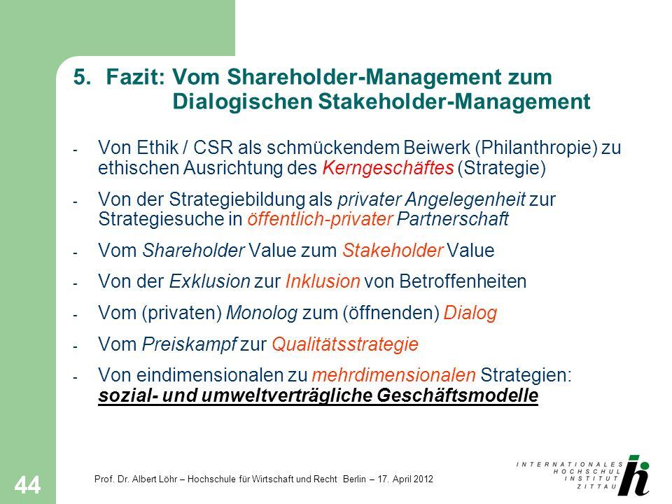 5. Fazit:. Vom Shareholder-Management zum