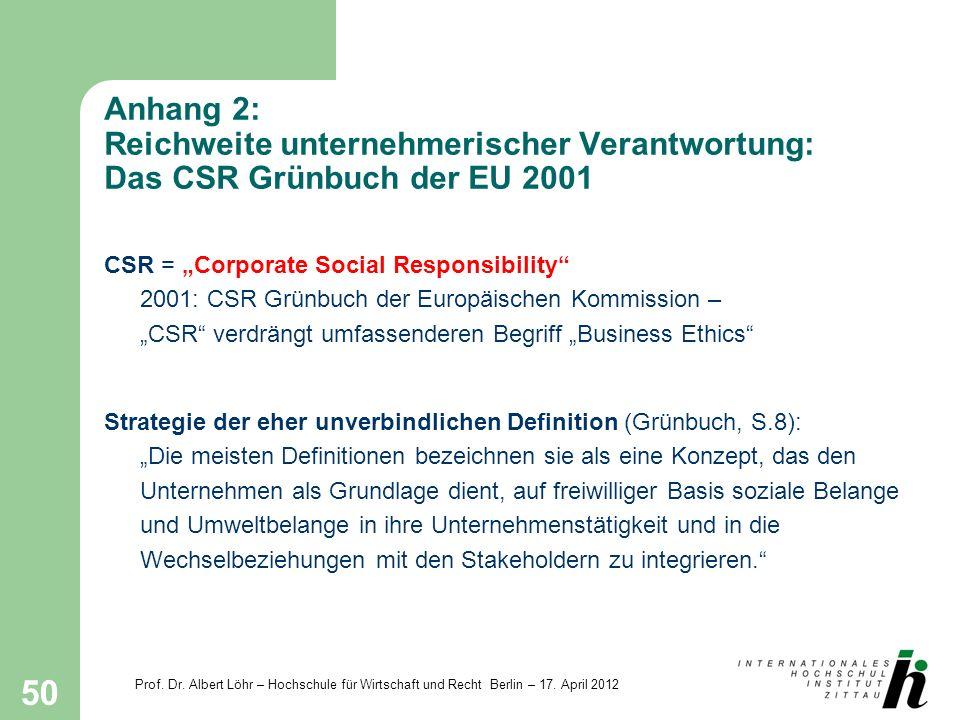 Anhang 2: Reichweite unternehmerischer Verantwortung: