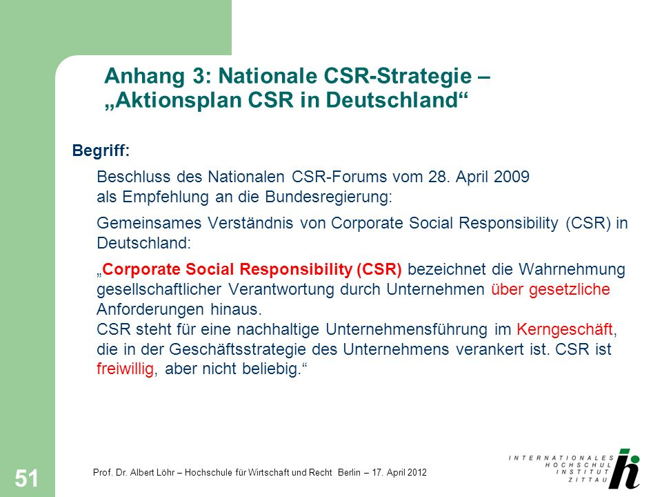 "Anhang 3: Nationale CSR-Strategie – ""Aktionsplan CSR in Deutschland"