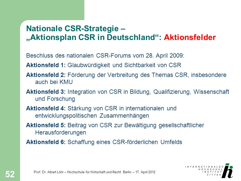 "Nationale CSR-Strategie – ""Aktionsplan CSR in Deutschland : Aktionsfelder"