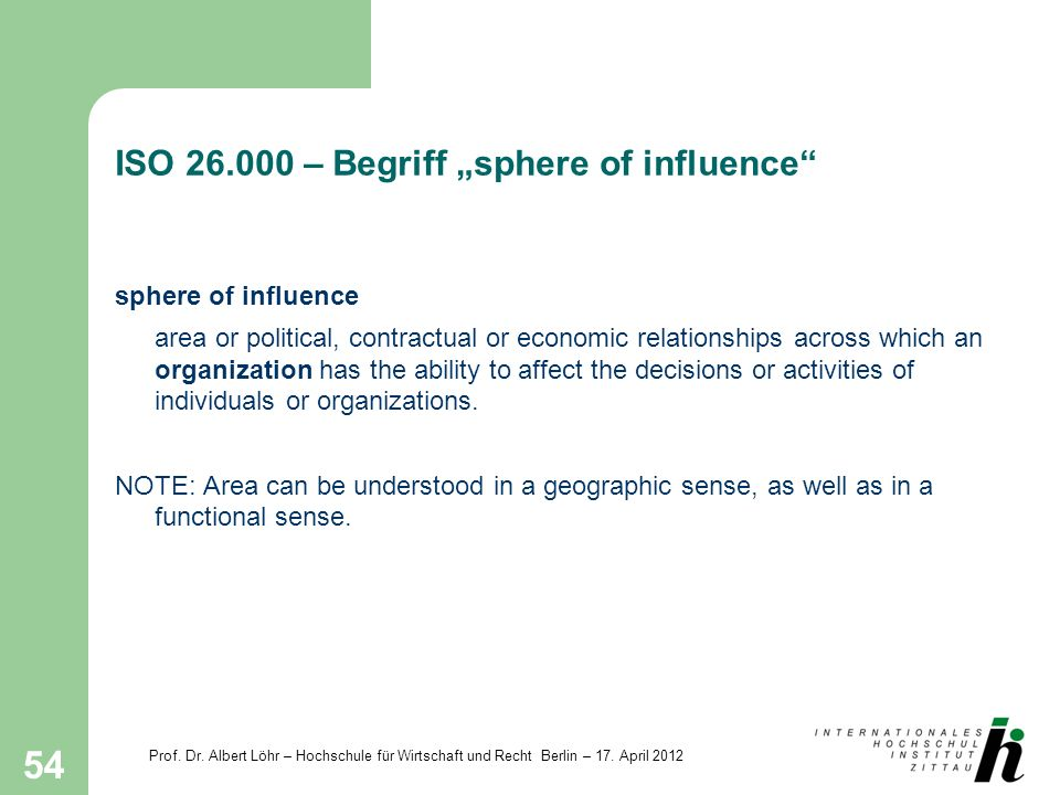 "ISO 26.000 – Begriff ""sphere of influence"