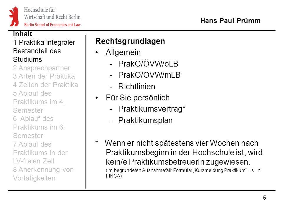 Rechtsgrundlagen Allgemein PrakO/ÖVW/oLB PrakO/ÖVW/mLB Richtlinien