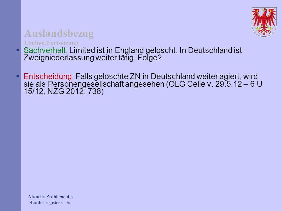 Auslandsbezug Limited/Fortsetzung