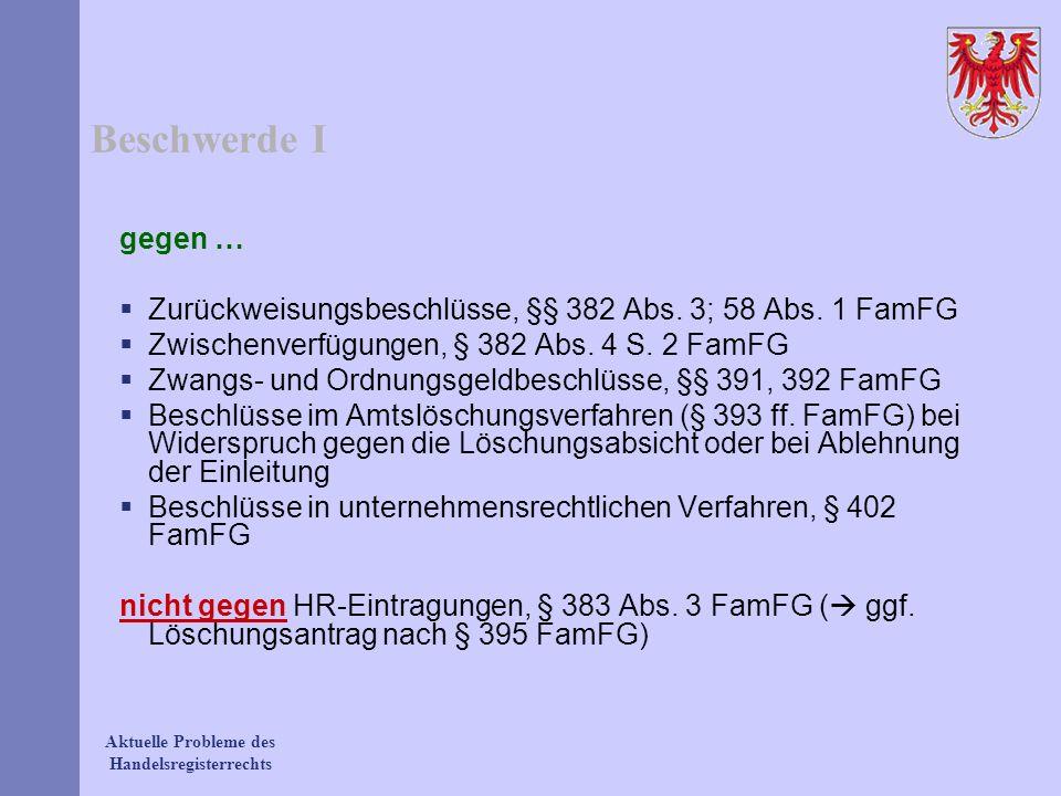 Beschwerde Igegen … Zurückweisungsbeschlüsse, §§ 382 Abs. 3; 58 Abs. 1 FamFG. Zwischenverfügungen, § 382 Abs. 4 S. 2 FamFG.