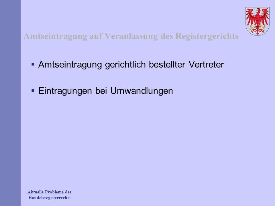 Amtseintragung auf Veranlassung des Registergerichts
