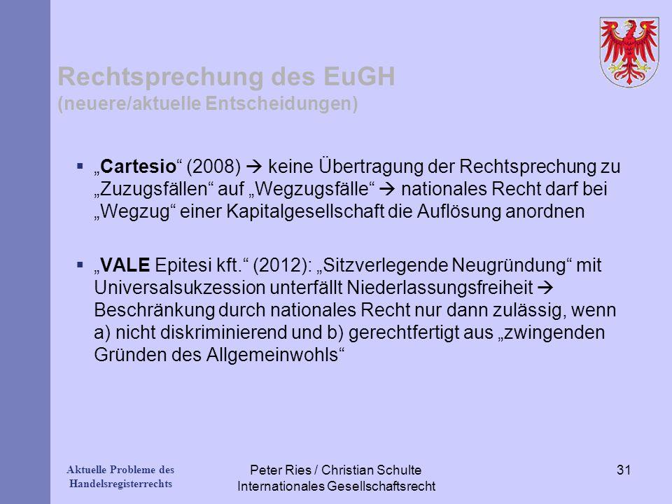 Rechtsprechung des EuGH (neuere/aktuelle Entscheidungen)