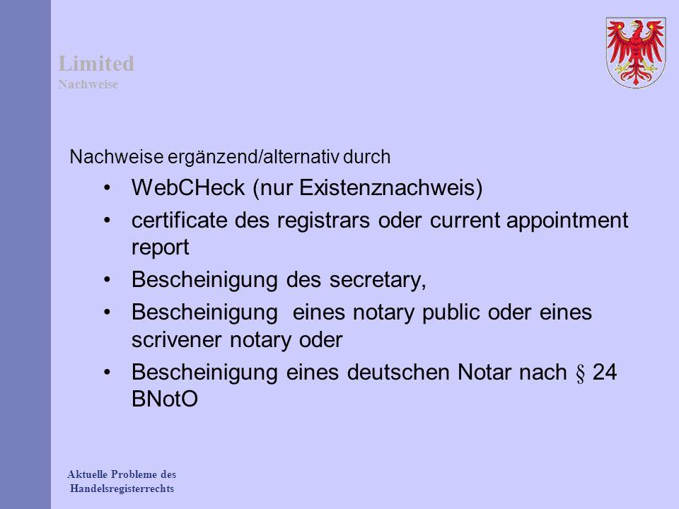 WebCHeck (nur Existenznachweis)
