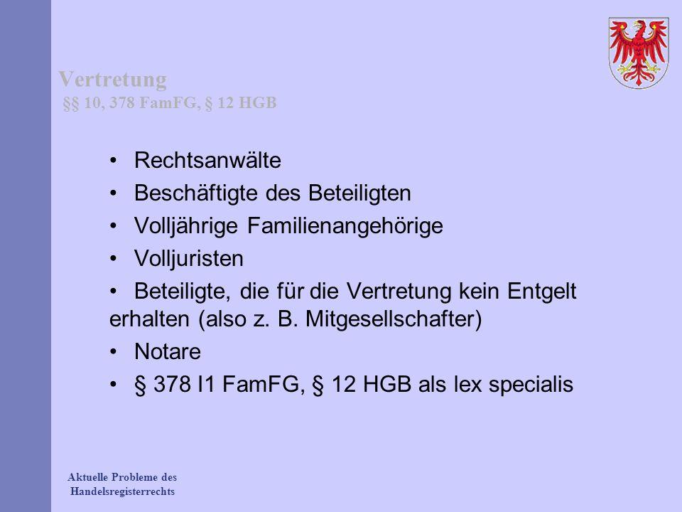 Vertretung §§ 10, 378 FamFG, § 12 HGB