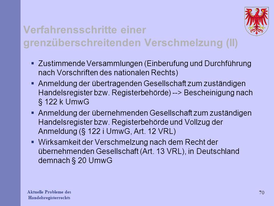 Verfahrensschritte einer grenzüberschreitenden Verschmelzung (II)