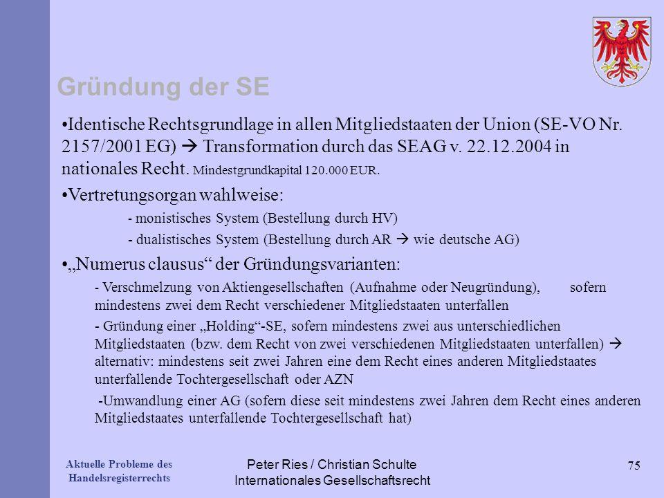 Peter Ries / Christian Schulte Internationales Gesellschaftsrecht