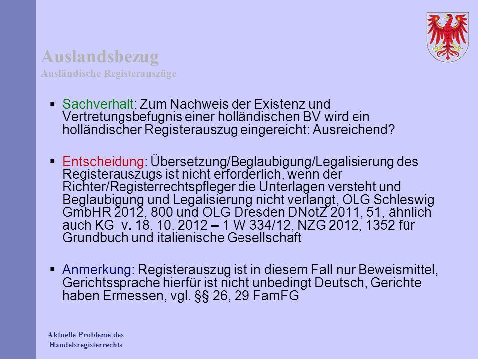 Auslandsbezug Ausländische Registerauszüge